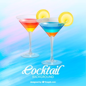 Watercolor background with colorful cocktails