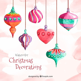 Watercolor background with decorative christmas balls