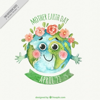 Watercolor background with decorative flowers for mother earth day