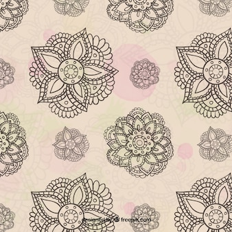 Watercolor background with decorative hand drawn flowers