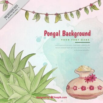 Watercolor background with decorative vegetation for pongal