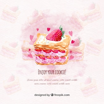 Watercolor background with delicious strawberry cake