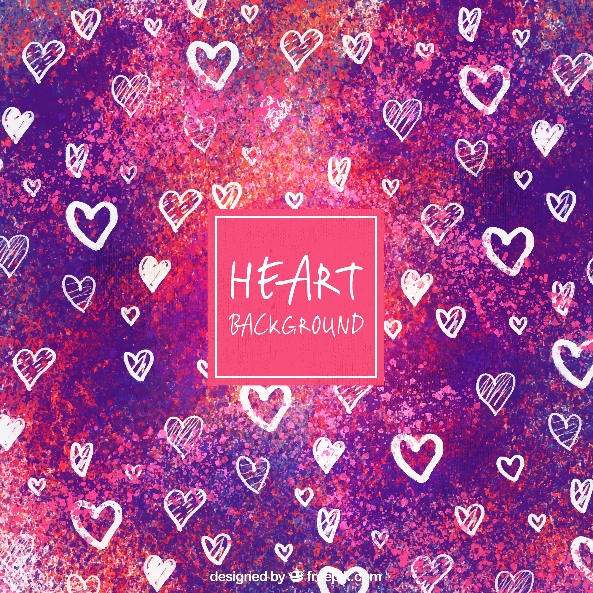 Watercolor background with drawings of hearts