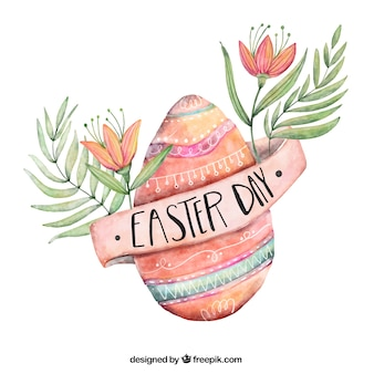 Watercolor background with easter egg and decorative flowers