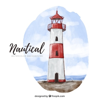 Watercolor background with fantastic lighthouse