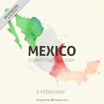 Watercolor background with flag of mexico