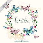 Watercolor background with floral wreath and butterflies
