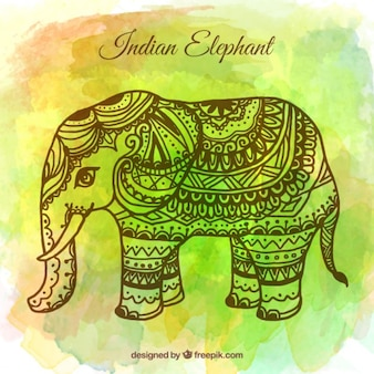 Watercolor background with hand drawn ganpati