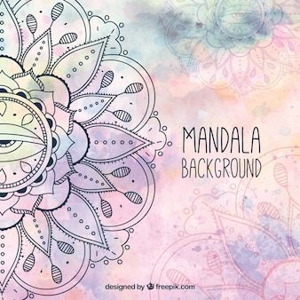 Watercolor background with hand drawn mandala