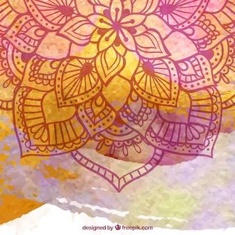 手描きの曼荼羅と水彩の背景
