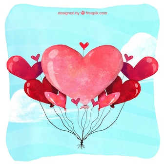Watercolor background with heart balloons
