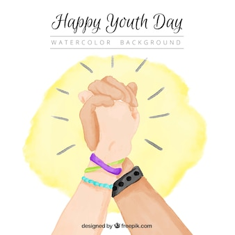 Watercolor background with intertwine hands