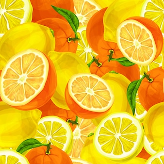 Watercolor background with lemons and oranges