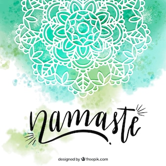 Watercolor background with mandala and namaste lettering