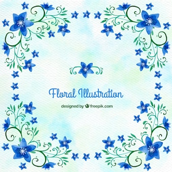 Watercolor background with ornamental blue flowers