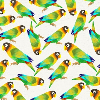 Watercolor background with parrots