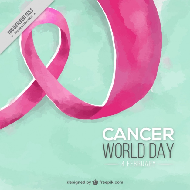 Watercolor background with pink ribbon for world cancer day
