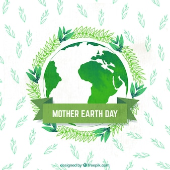 Watercolor background with planet earth and plants for mother earth day