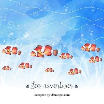 Watercolor background with pretty fishes