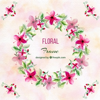 Watercolor background with pretty floral wreath