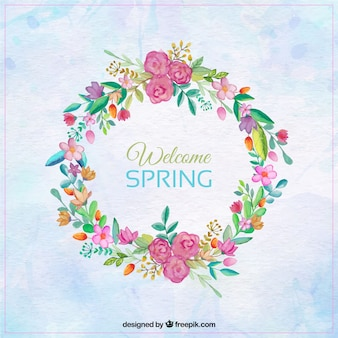 Watercolor background with pretty spring wreath