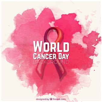 Watercolor background with ribbon for world cancer day