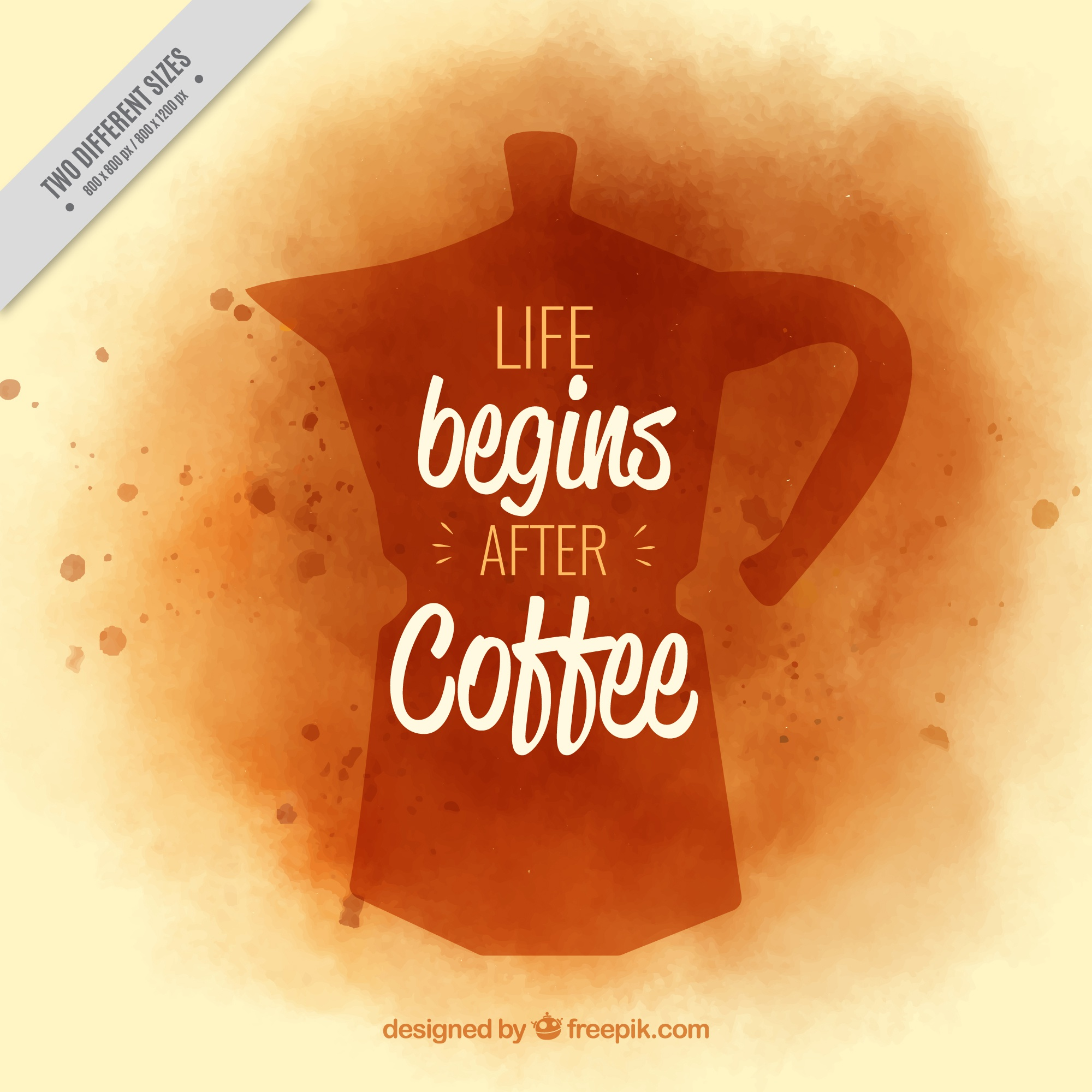 Watercolor background with silhouette of coffee maker and message