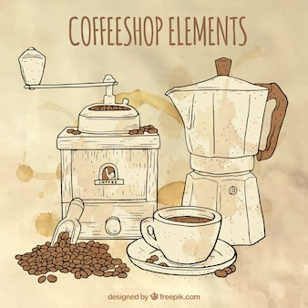 Watercolor background with sketches of coffee maker and coffee grinder