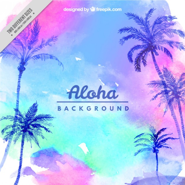 Watercolor background with sky and palm trees