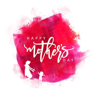 Watercolor background with white silhouettes for mother's day