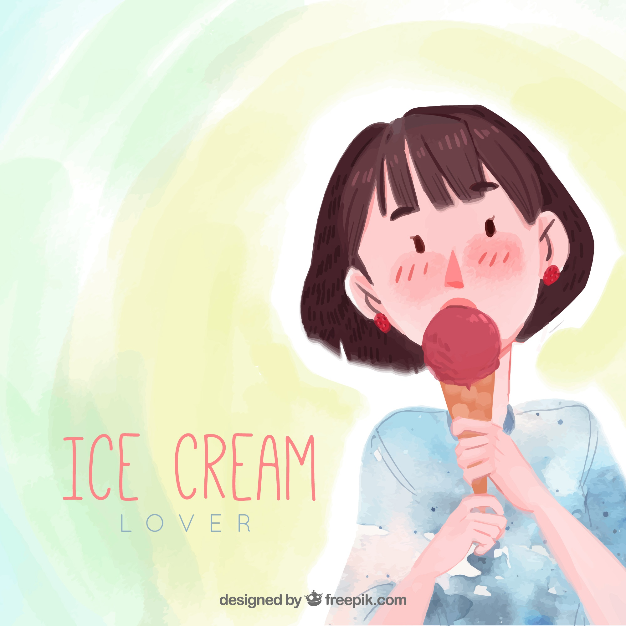Watercolor background with woman taking ice cream