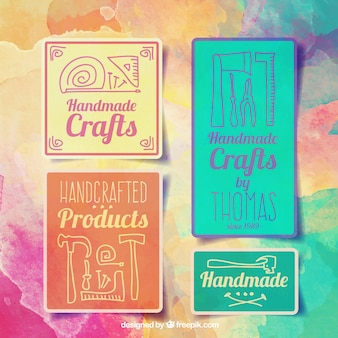 Watercolor badges for crafts