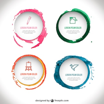 Watercolor badges template