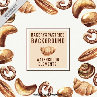 Watercolor bakery and pastries background
