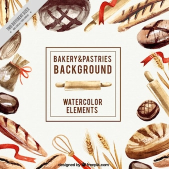 Watercolor bakery elements background