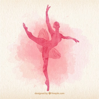 Watercolor ballet dancer silhoutte