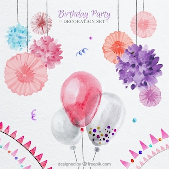 Watercolor balloons and floral decoration for birthday