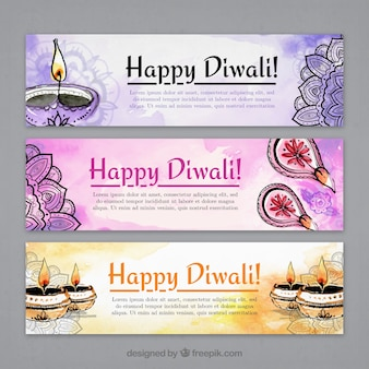 Watercolor banners and drawings of diwali