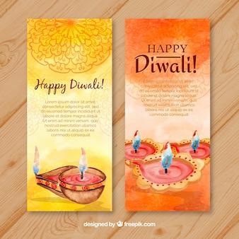 Watercolor banners diwali celebration