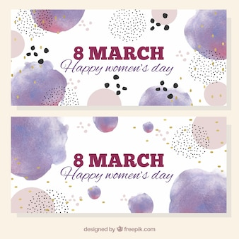 Watercolor banners for women's day