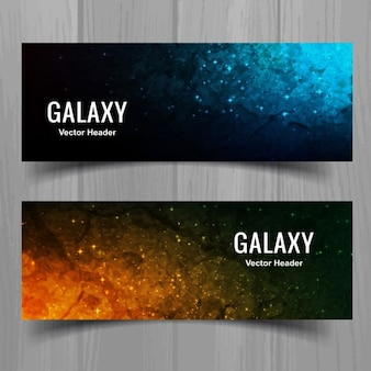 Watercolor banners of astronomy