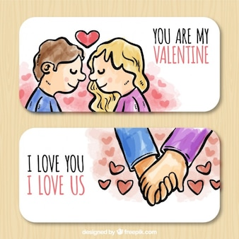 Watercolor banners of couple in love for valentine's day