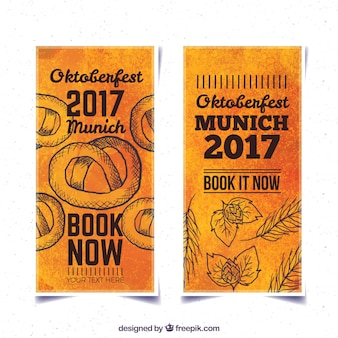 Watercolor banners of oktoberfest with drawings