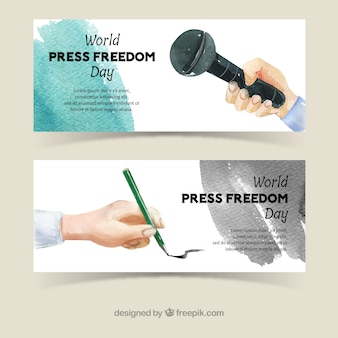 Watercolor banners of world press freedom day