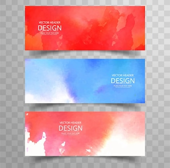 Watercolor banners set