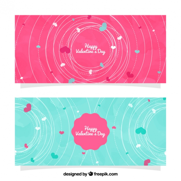 Watercolor banners with decorative cables for valentine's day
