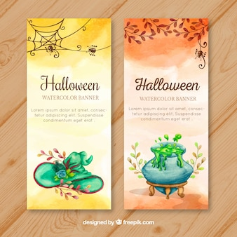 Watercolor banners with halloween elements