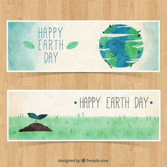 Watercolor banners with illustrations for earth day