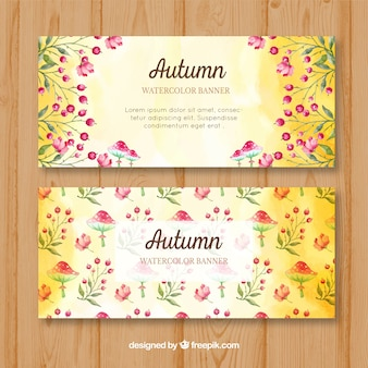 Watercolor banners with natural elements of autumn