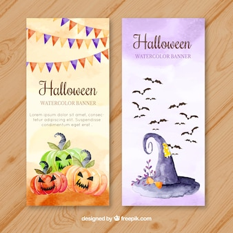 Watercolor banners with pumpkins and witch hat